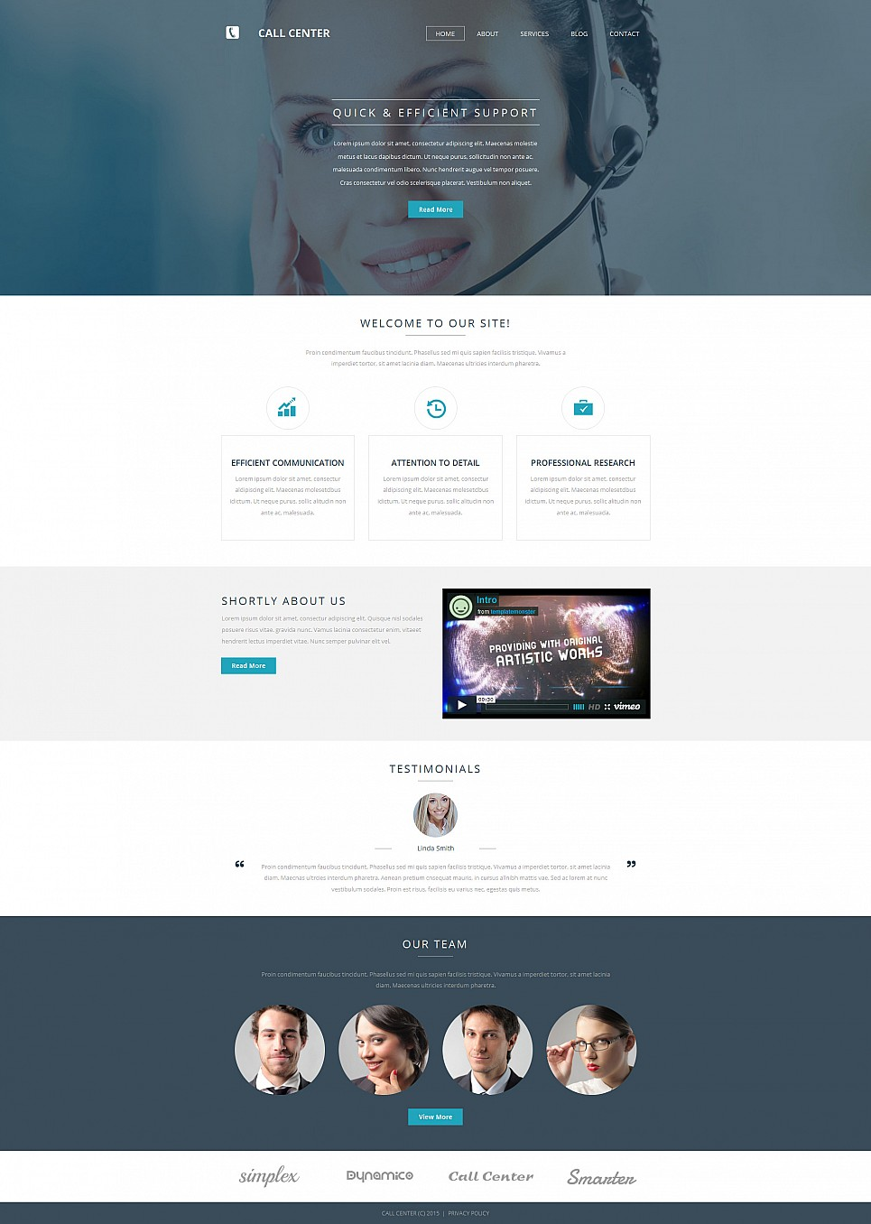 Online Call Center Website Theme - image