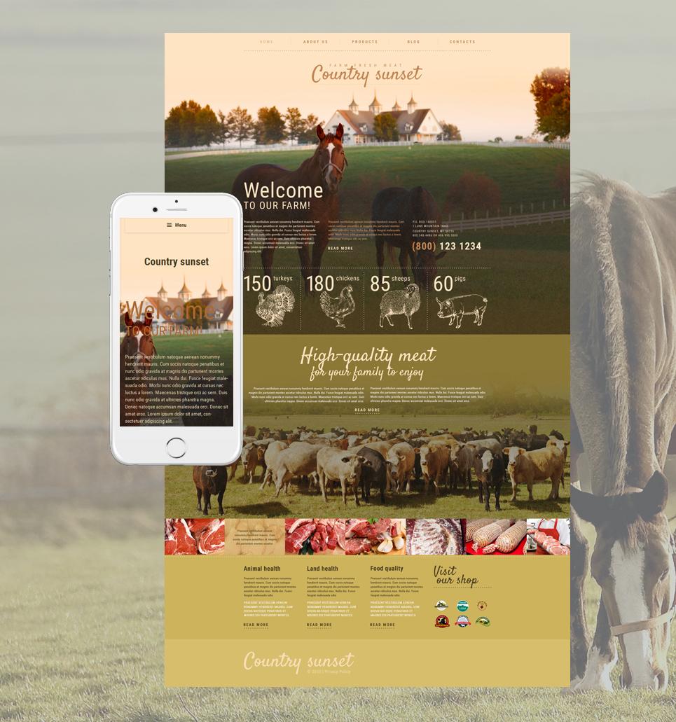 Адаптивный шаблон сайта на тему фермы #55354