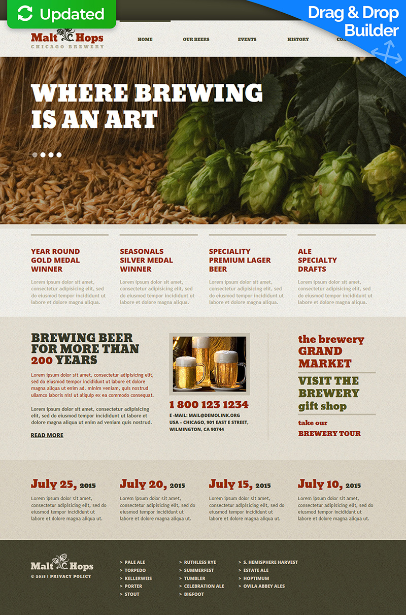 Brewery Responsive Moto CMS 3 Template