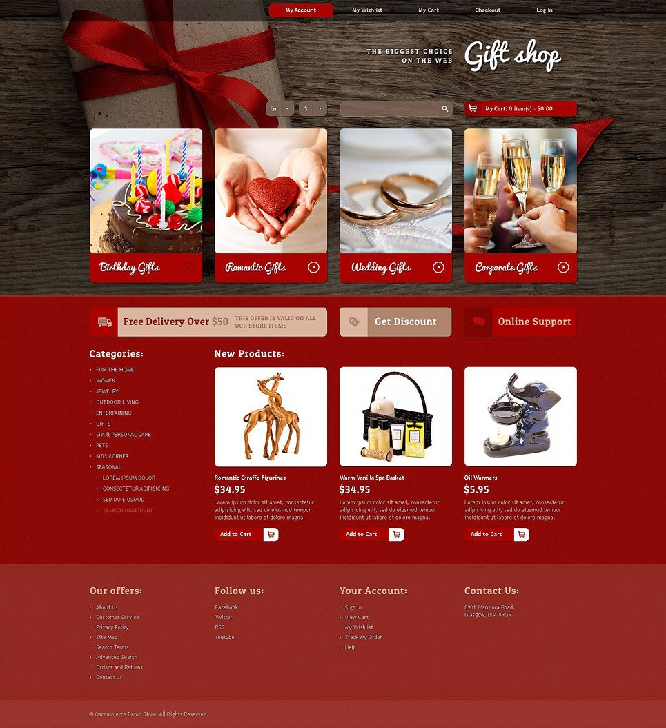 Gifts Store OsCommerce Template New Screenshots BIG