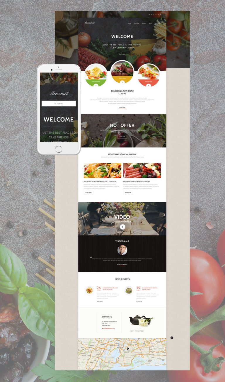 Gourmet Cuisine WordPress Theme New Screenshots BIG