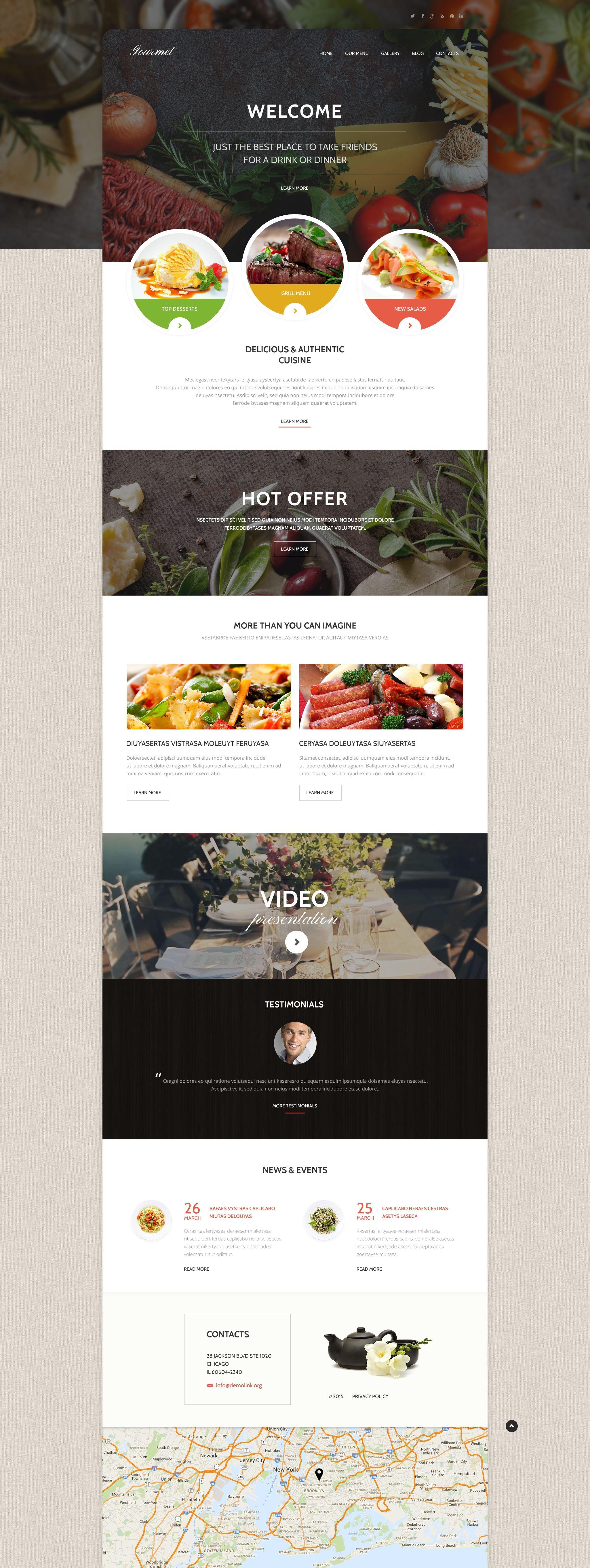 """Gourmet Cuisine"" 响应式WordPress模板 #55376"