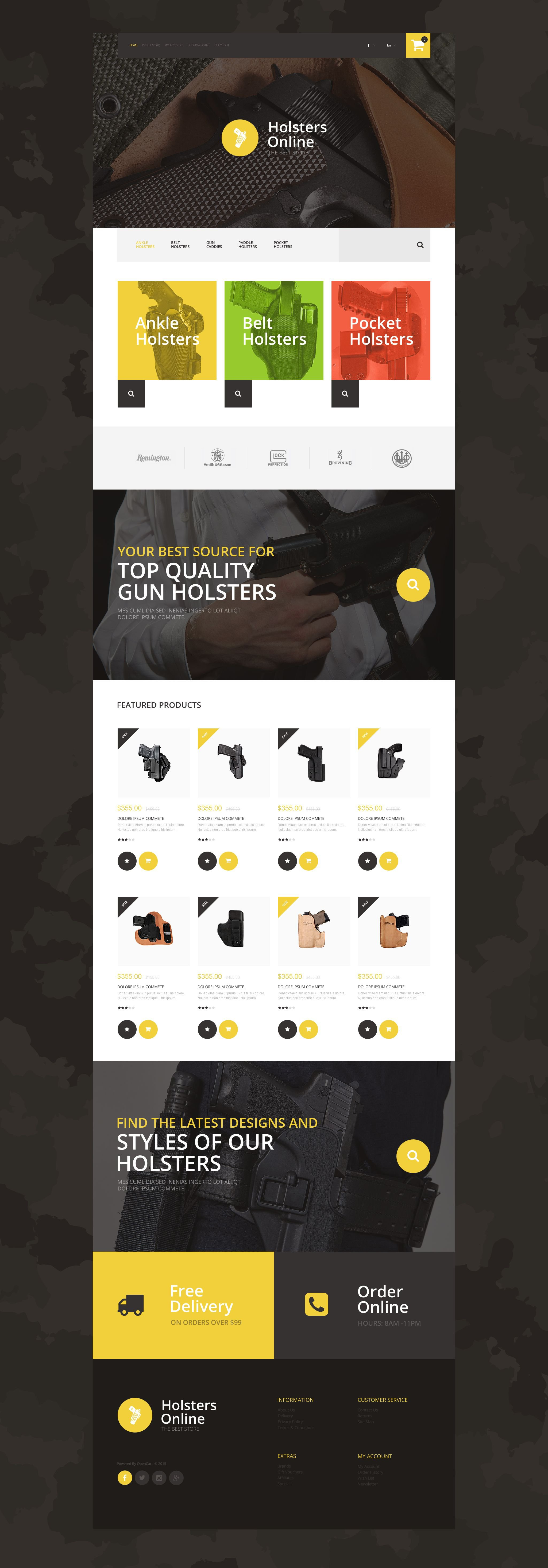 """""""Holsters Online Store"""" Responsive OpenCart Template №55382"""