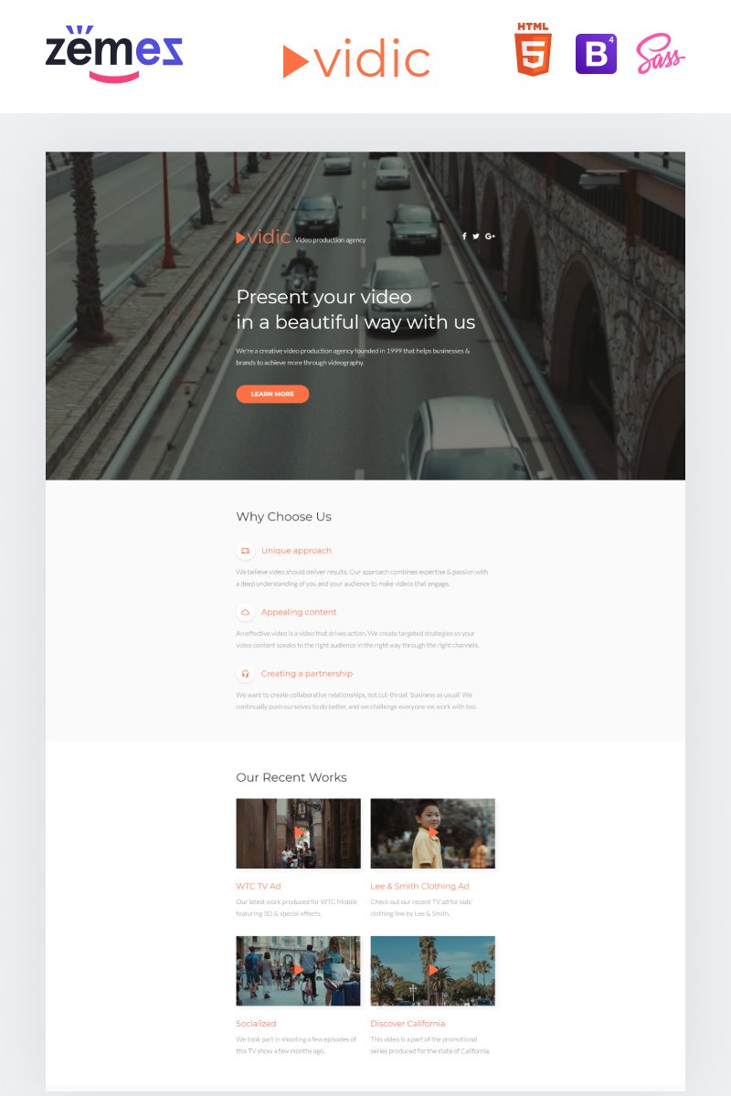 "Landing Page Template namens ""Vidic - Video Lab Creative HTML"" #55399"