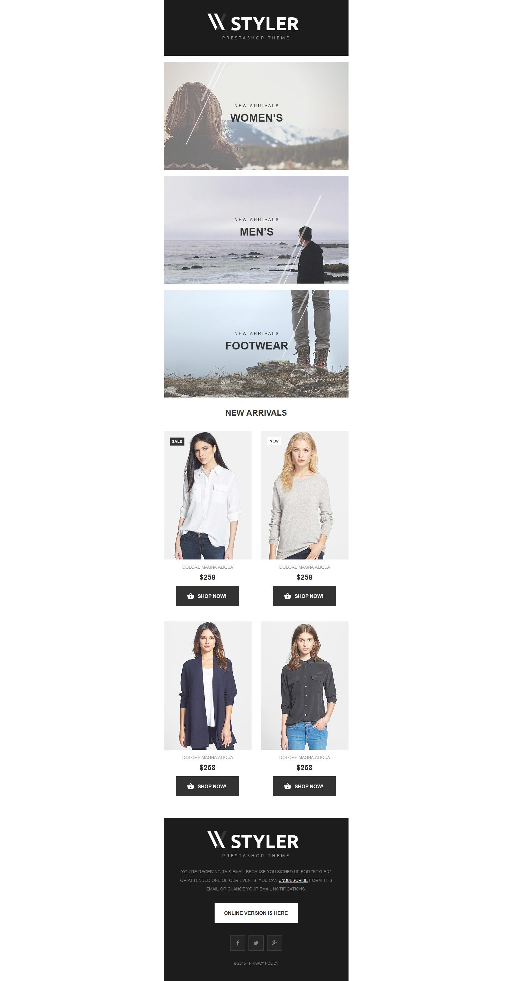 Modèle Bulletin adaptatif pour site de vêtements #55348
