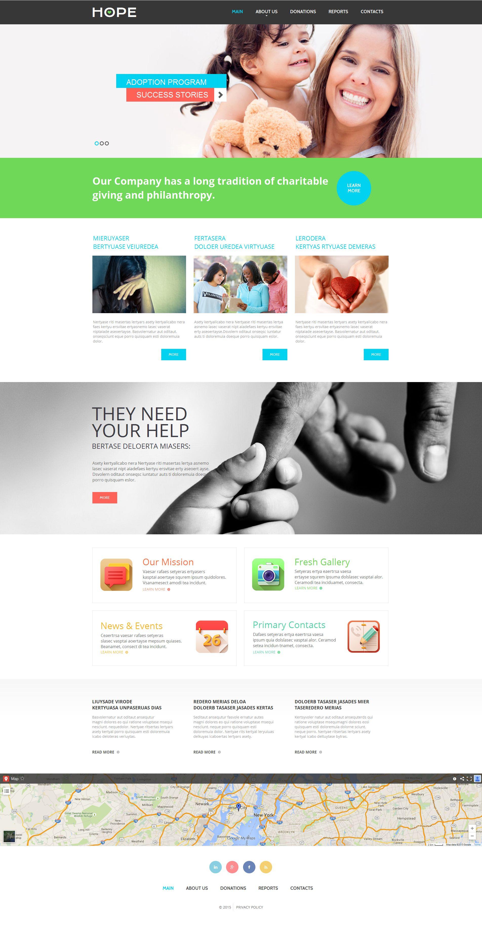 Modèle Moto CMS HTML Premium pour site d'association caritative #55302