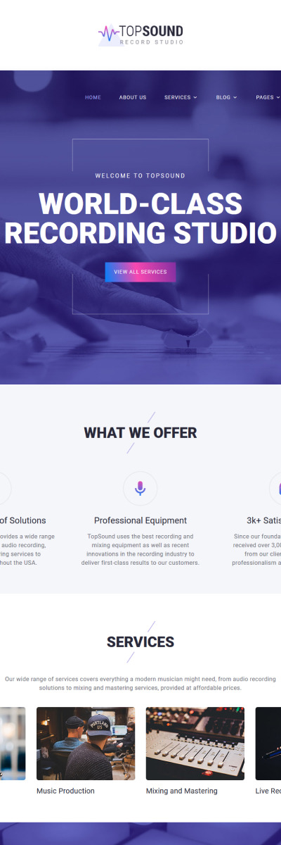 Music Production Co Website Template