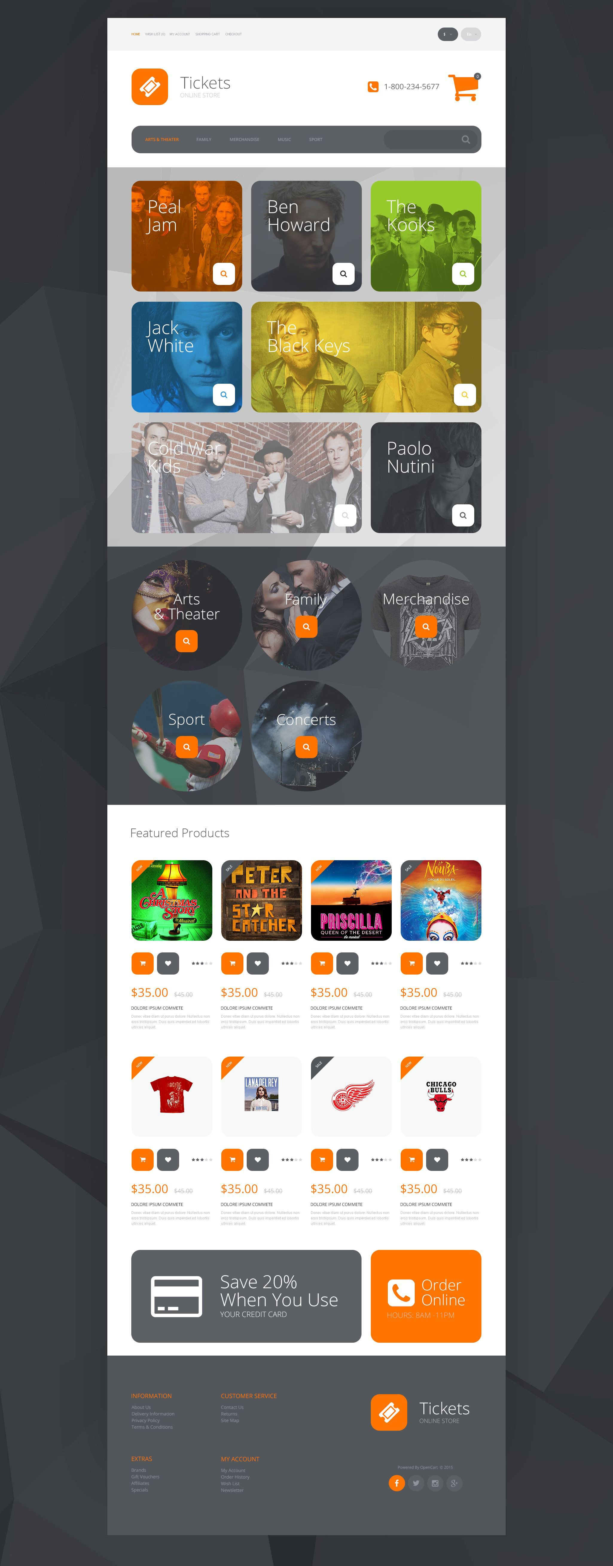 """Online Tickets"" - адаптивний OpenCart шаблон №55381"