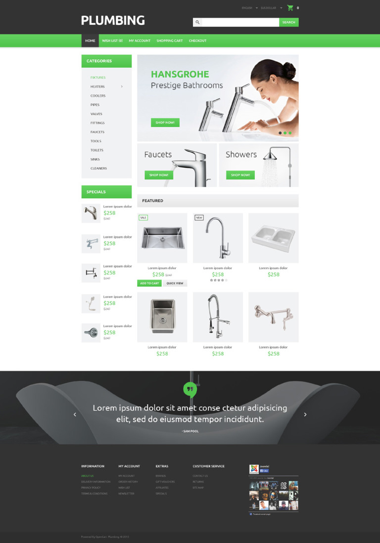 Plumber's Tool Case OpenCart Template New Screenshots BIG