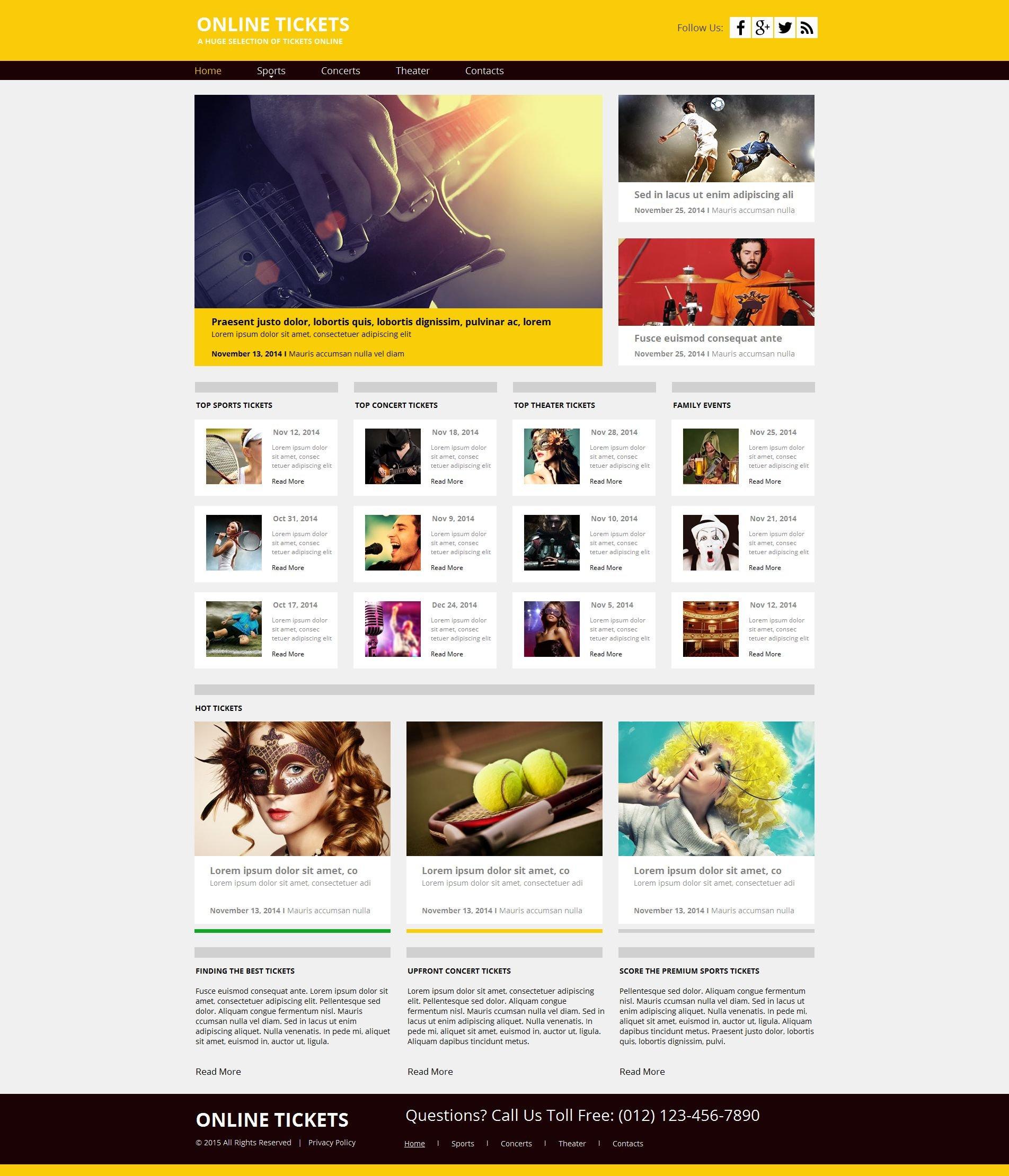 Premium Moto CMS HTML Template over Tickets website №55313