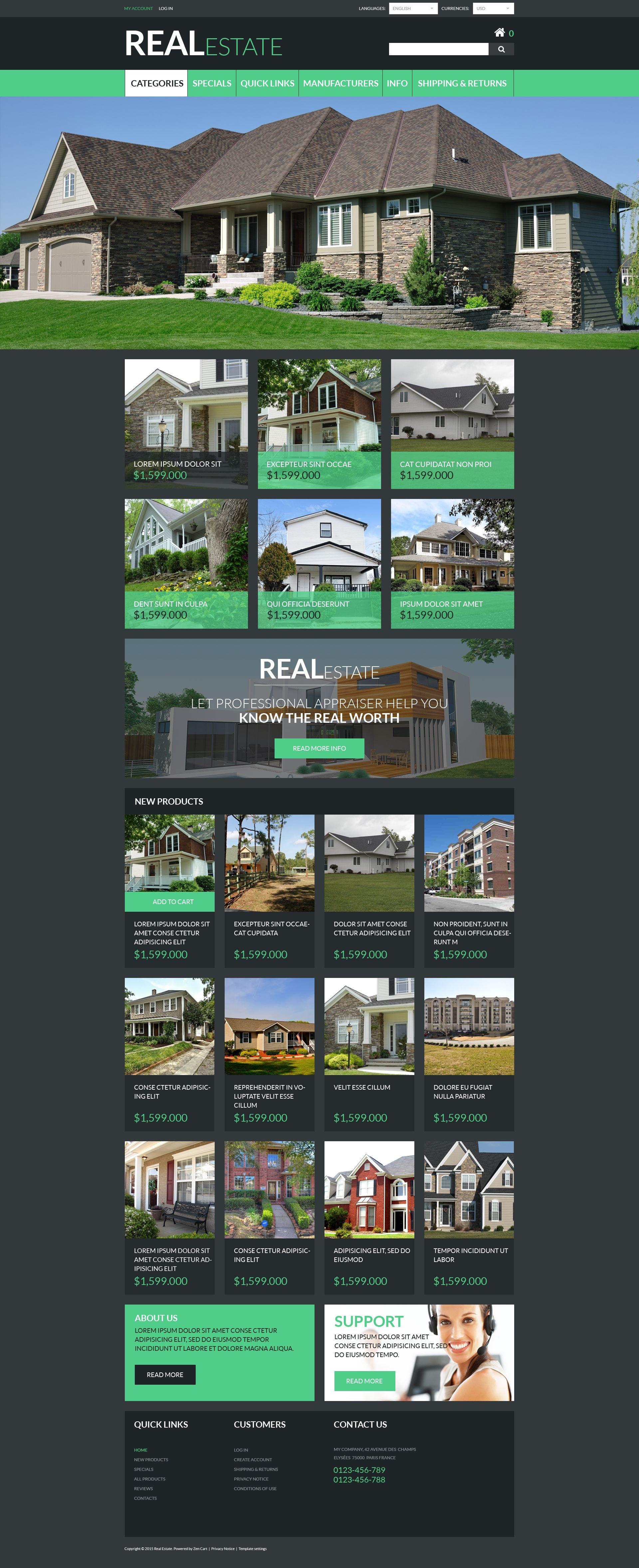 """""""Real Estate"""" Responsive ZenCart template №55356"""
