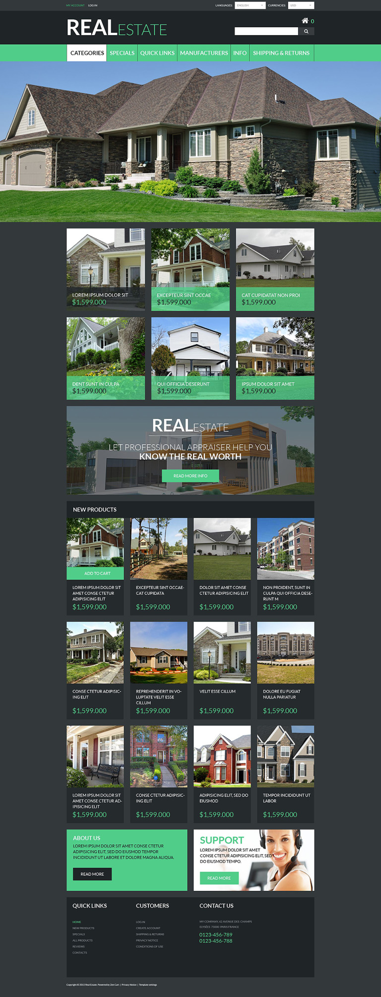 Real Estate ZenCart Template New Screenshots BIG