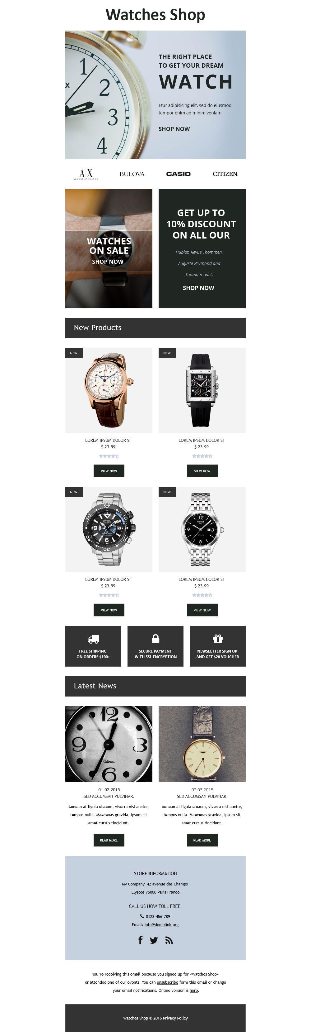 Responsive Nieuwsbrief Template over Horloges №55374