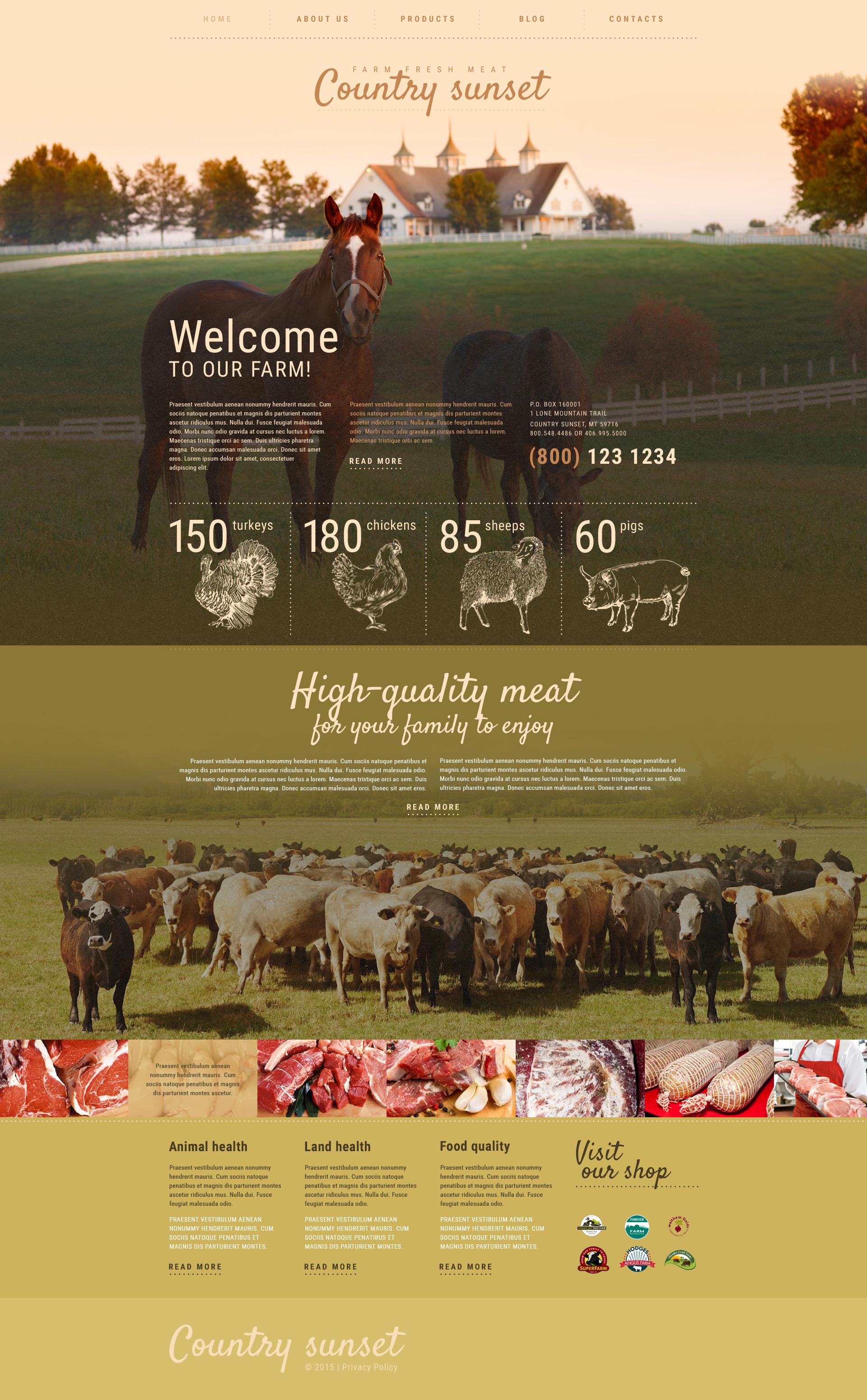 Responsivt Country Sunset WordPress-tema #55354