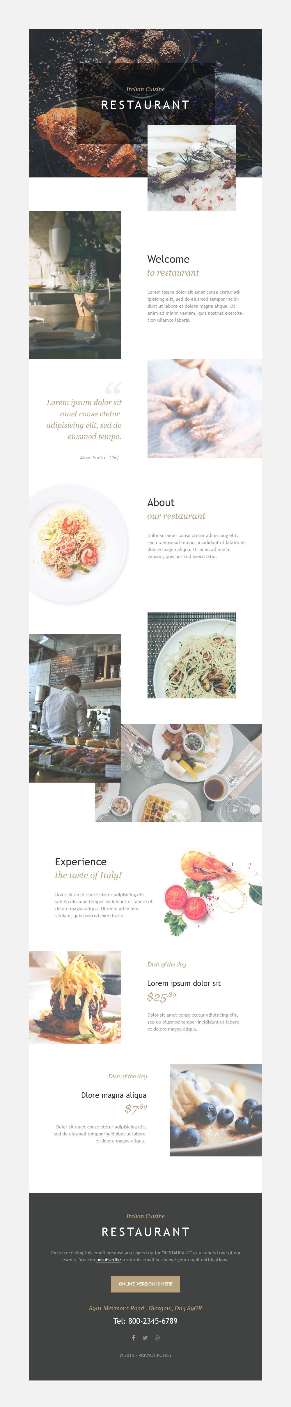 Reszponzív Olasz étterem Hírlevél sablon 55379
