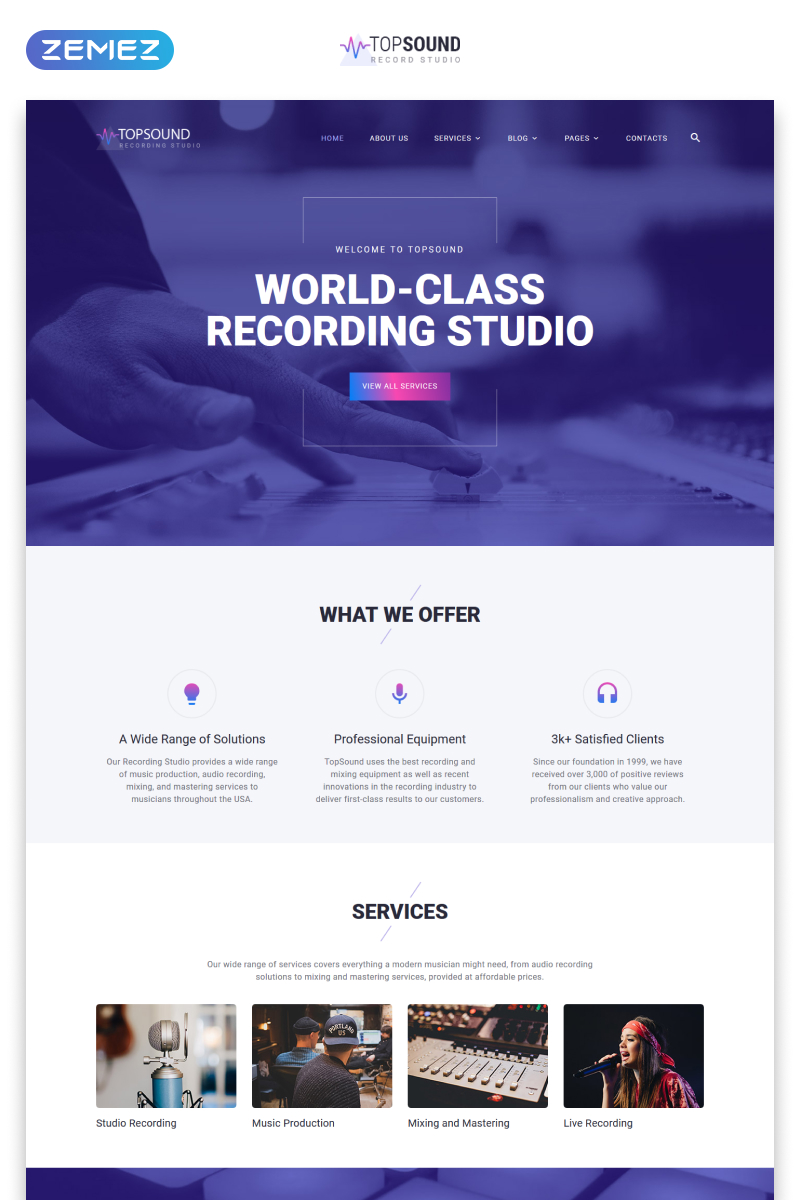 """""""TopSound - Recording Studio Modern Multipage HTML"""" Responsive Website template №55387"""