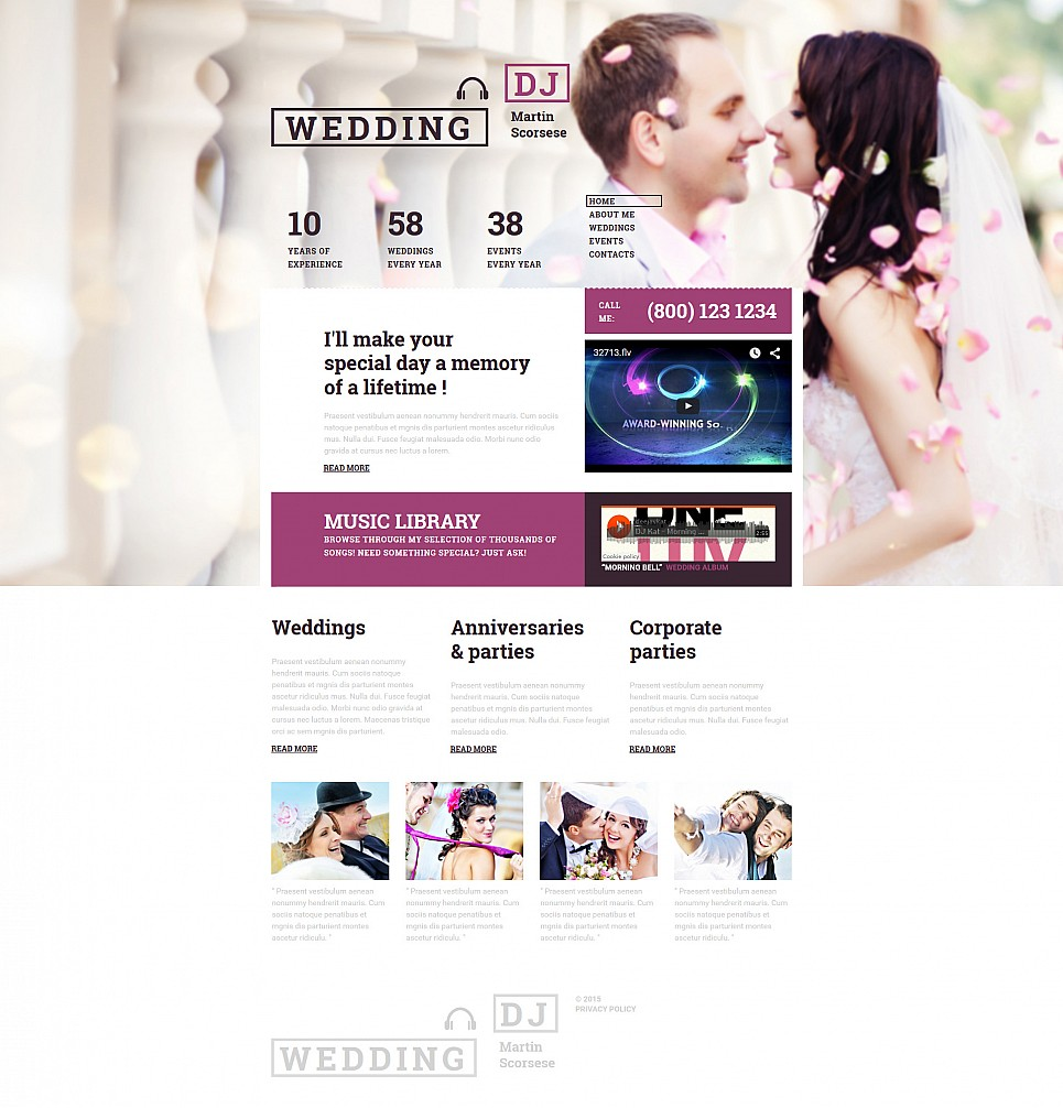 Wedding Website Builder Responsive Moto Cms 3 Template 55337