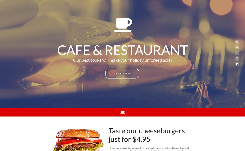 Responsives Landing Page Template für Cafe und Restaurant  New Screenshots BIG