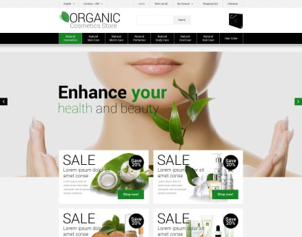 Organic Cosmetics Store OpenCart Template