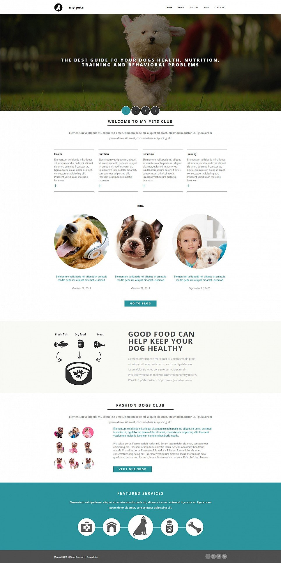 Web template for domestic animals site