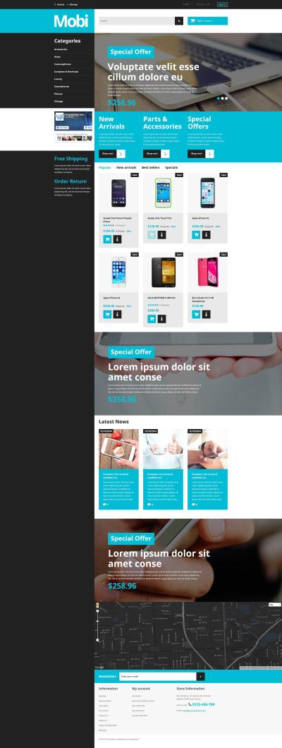 Адаптивный PrestaShop шаблон №55488 на тему магазин мобильной связи #55488