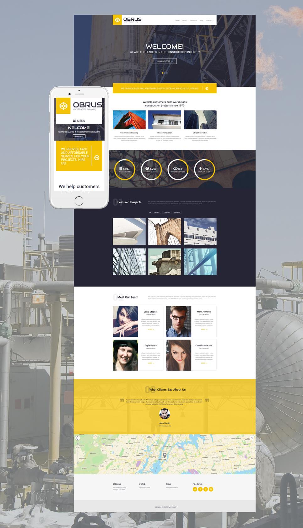 Адаптивный шаблон сайта на тему строительные компании #55425