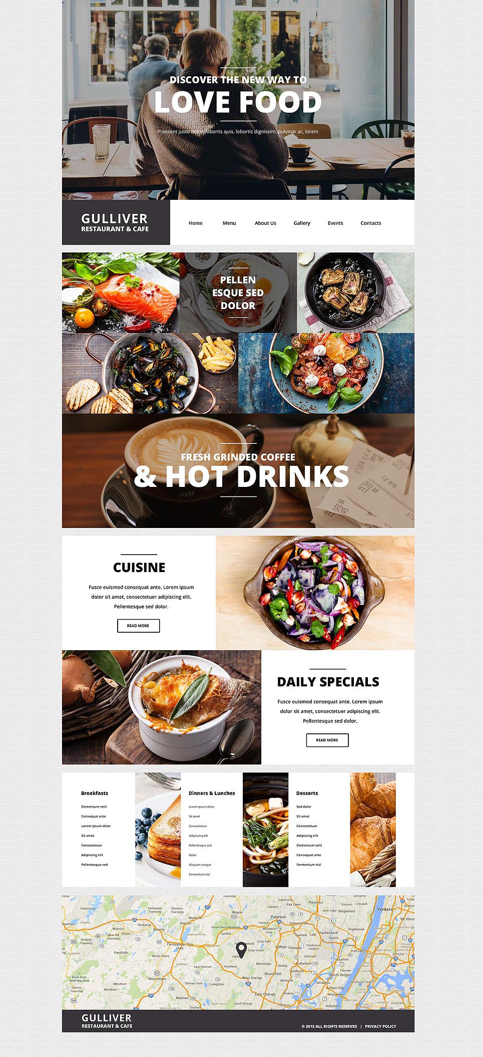 Адаптивный шаблон сайта на тему кафе и ресторан #55438
