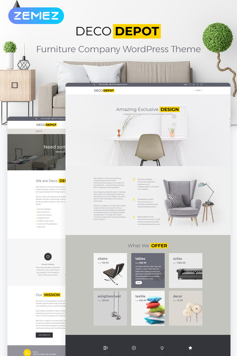 Адаптивный шаблон сайта на тему мебель #55460