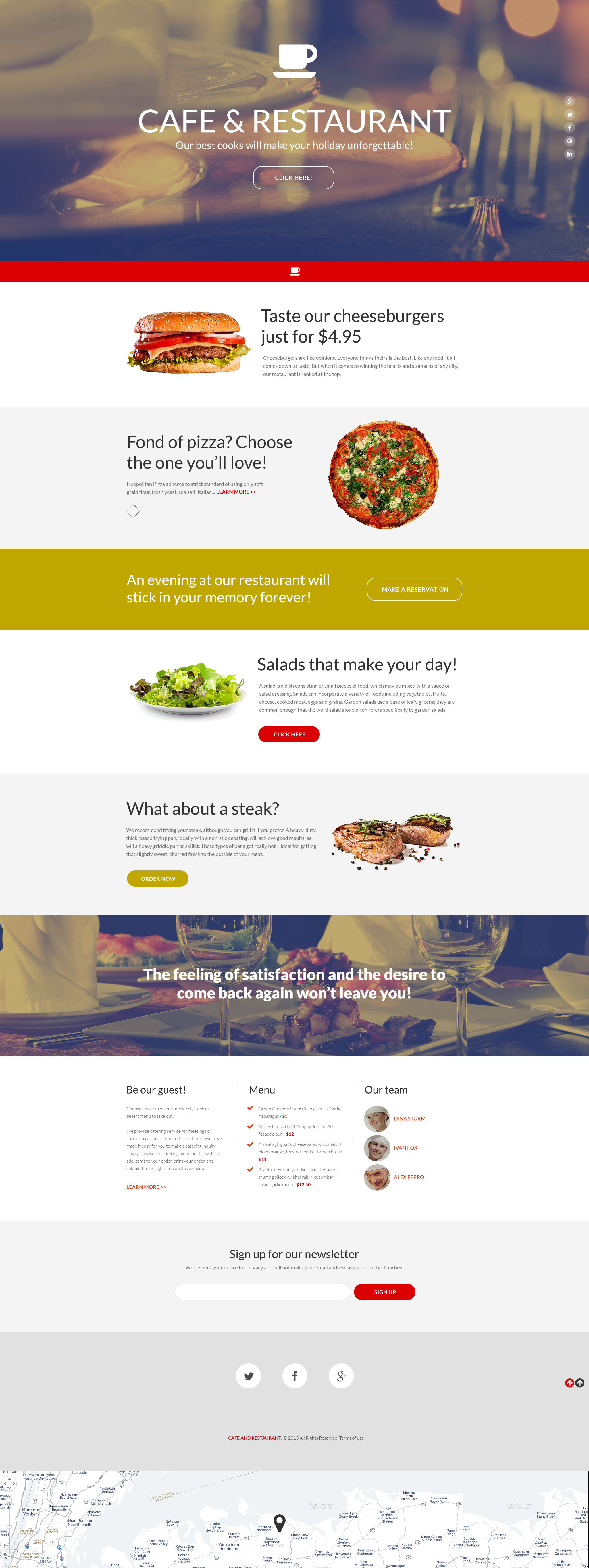 Cafe And Restaurant Responsive Landing Page Template 55463