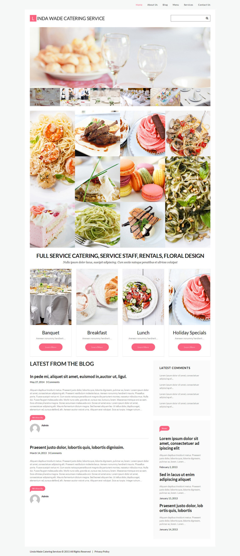 Catering Responsive WordPress Theme New Screenshots BIG