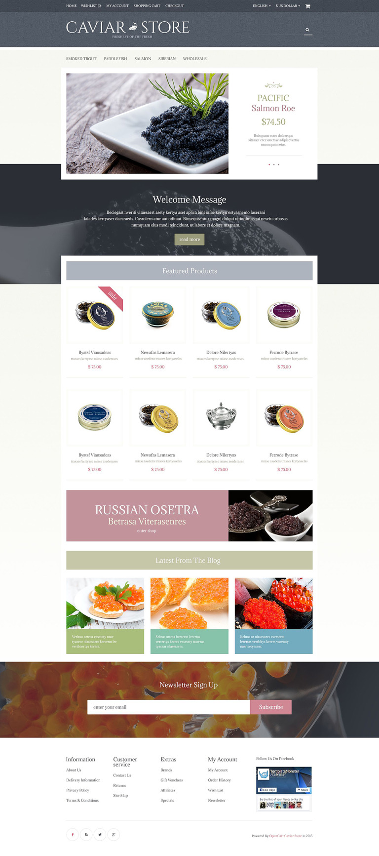 Caviar Store OpenCart Template New Screenshots BIG
