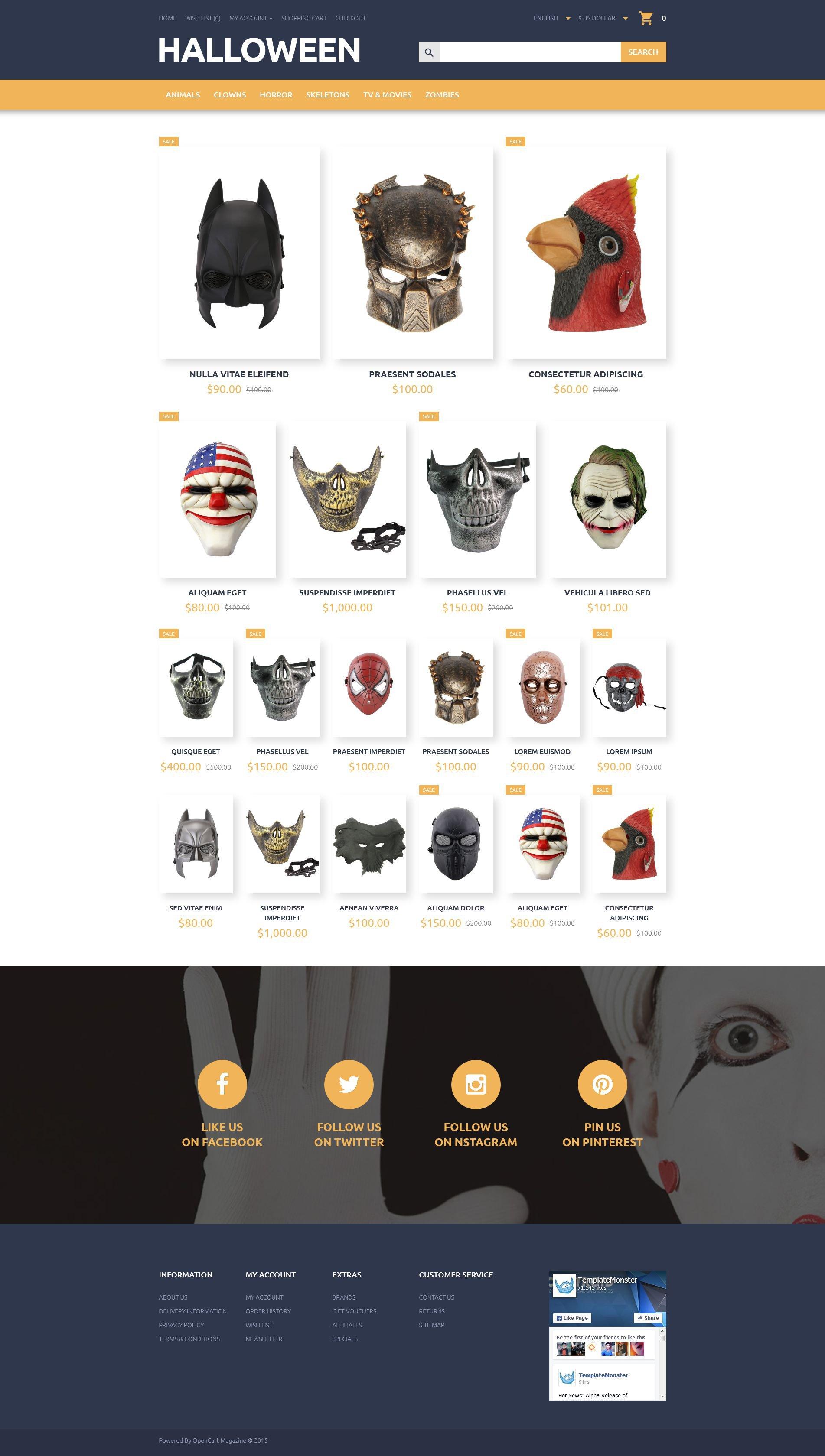 """""""Halloween"""" Responsive OpenCart Template №55452"""