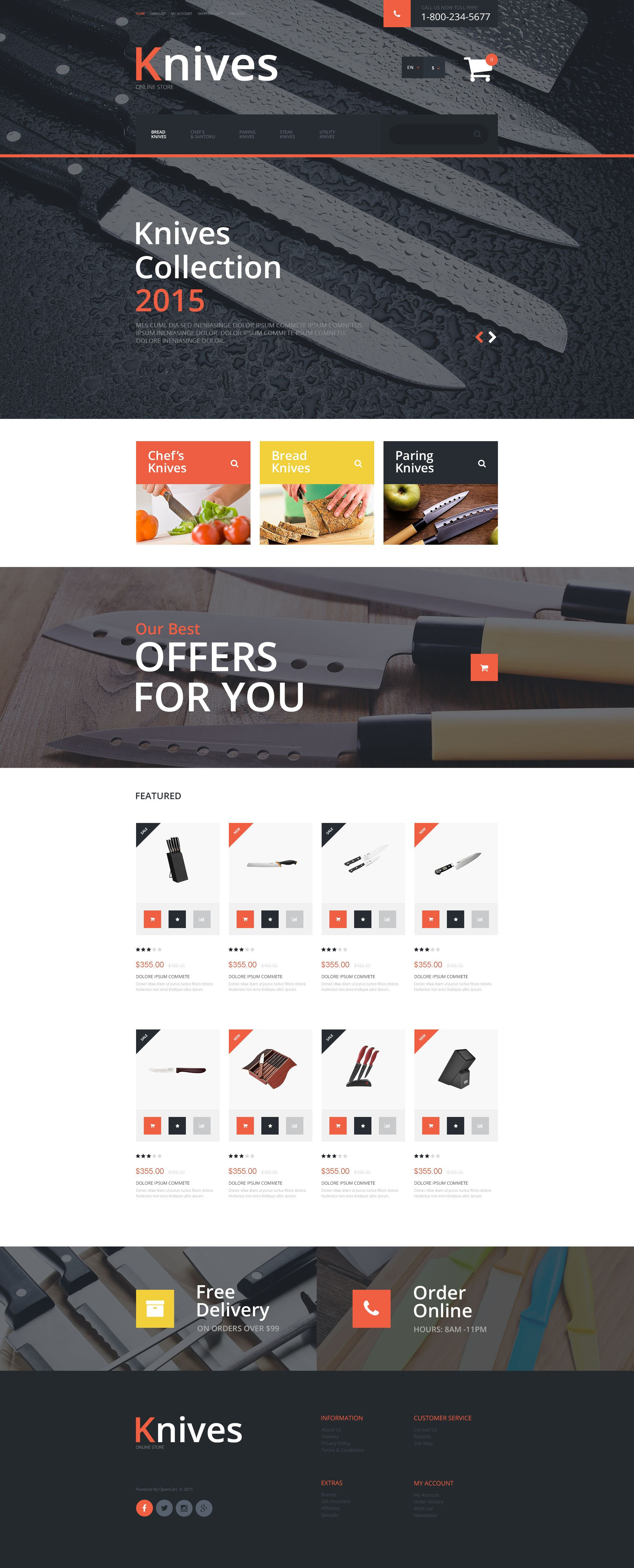 """""""Knives"""" Responsive OpenCart Template №55483"""
