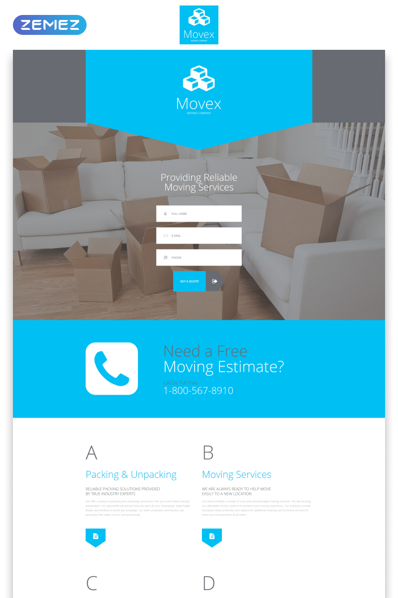 "Landing Page Template namens ""Movex - Moving Company Modern HTML"" #55432"