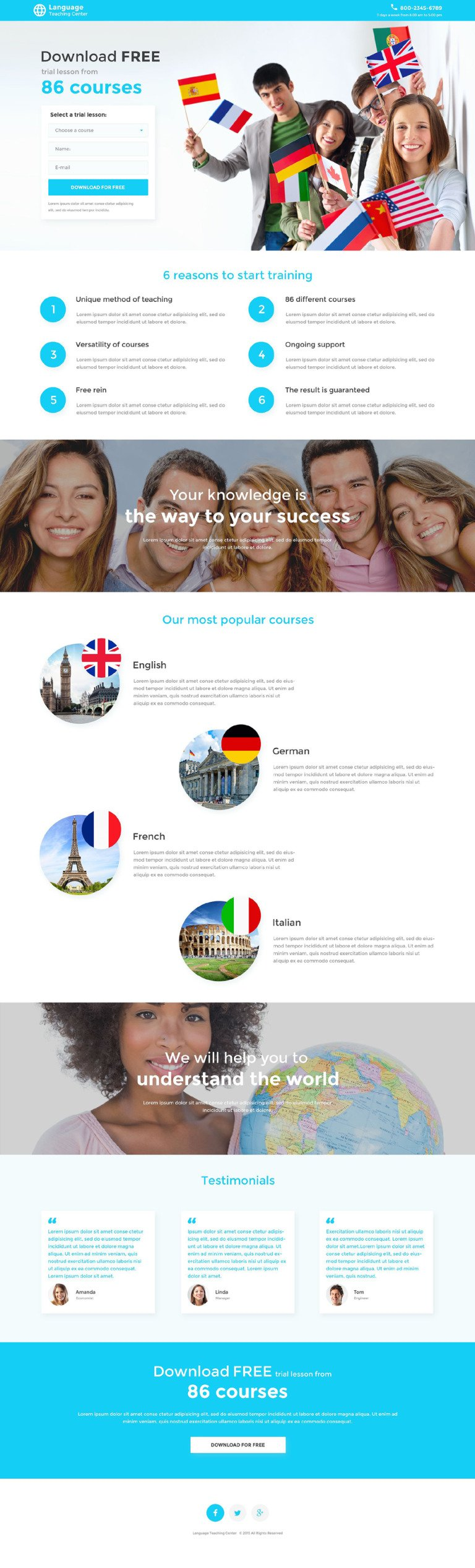 Language School Responsive Landing Page Template New Screenshots BIG