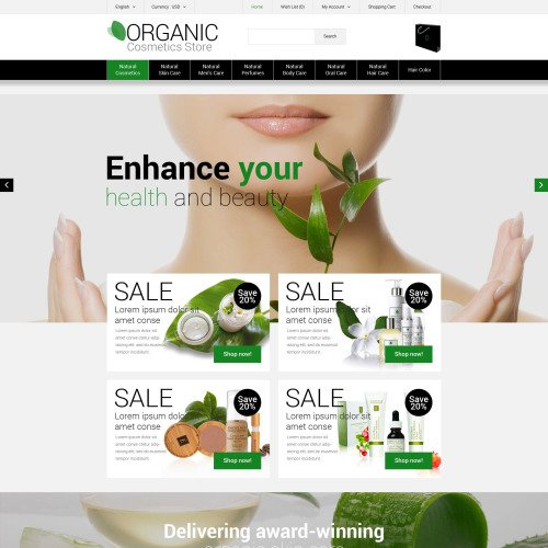 Organic Cosmetics Store - OpenCart Template based on Bootstrap