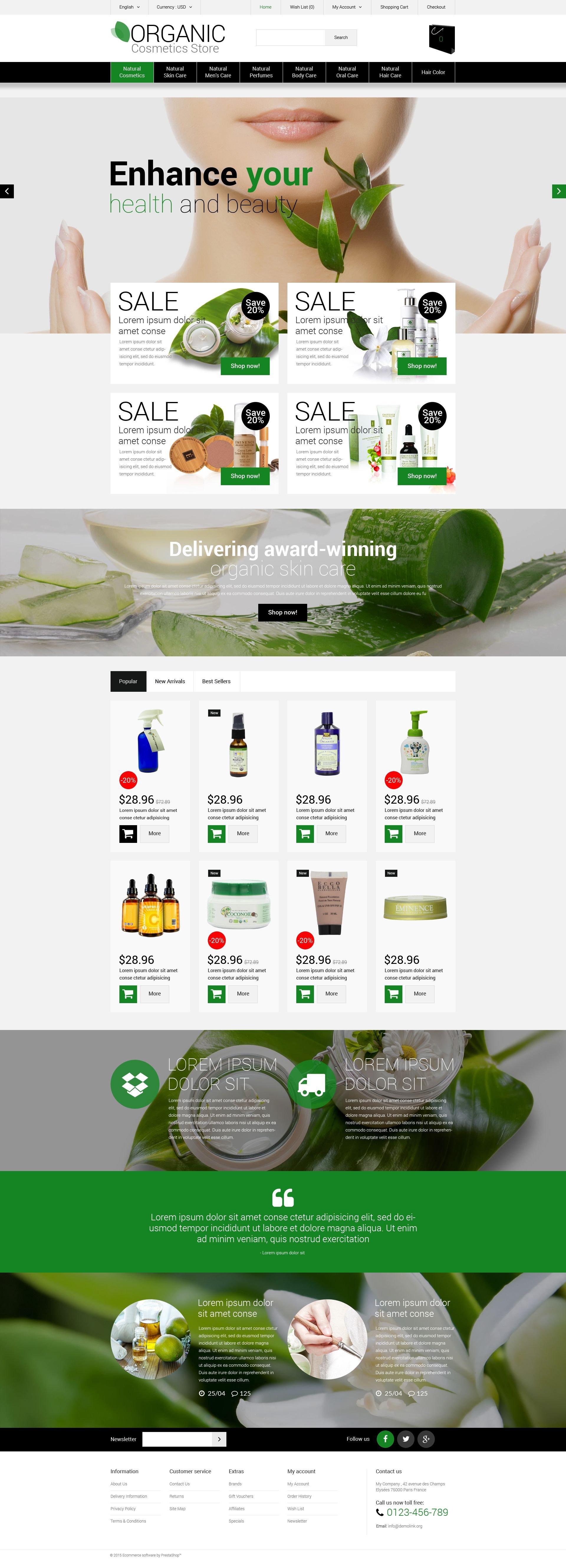 """Organic Cosmetics Store"" Responsive OpenCart Template №55466"