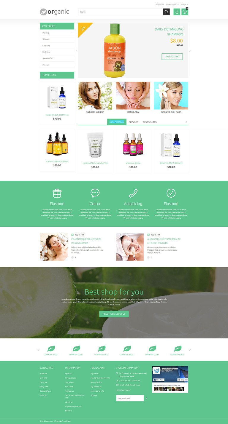 Organic PrestaShop Theme New Screenshots BIG