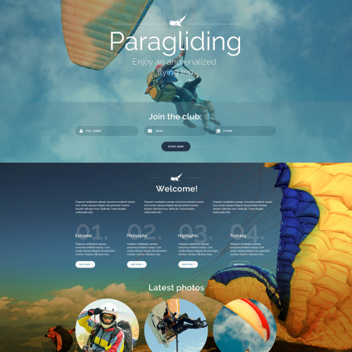 Paragliding - Responsive Landing Page Template
