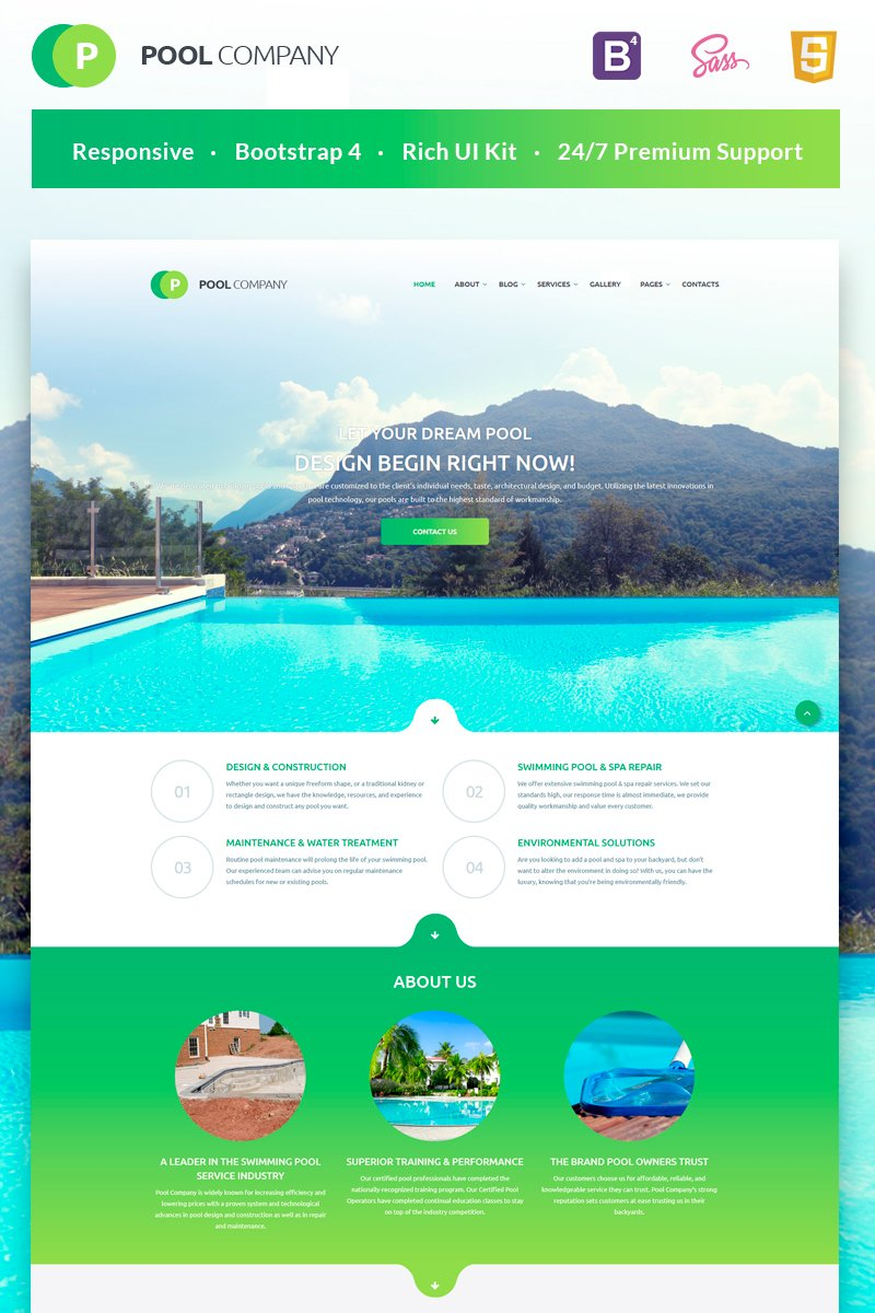 Pool Company Bootstrap Theme Template Web №55408