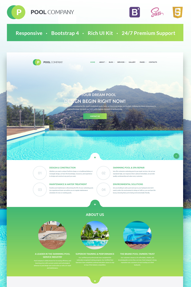 Pool Company Bootstrap Theme Website Template - screenshot