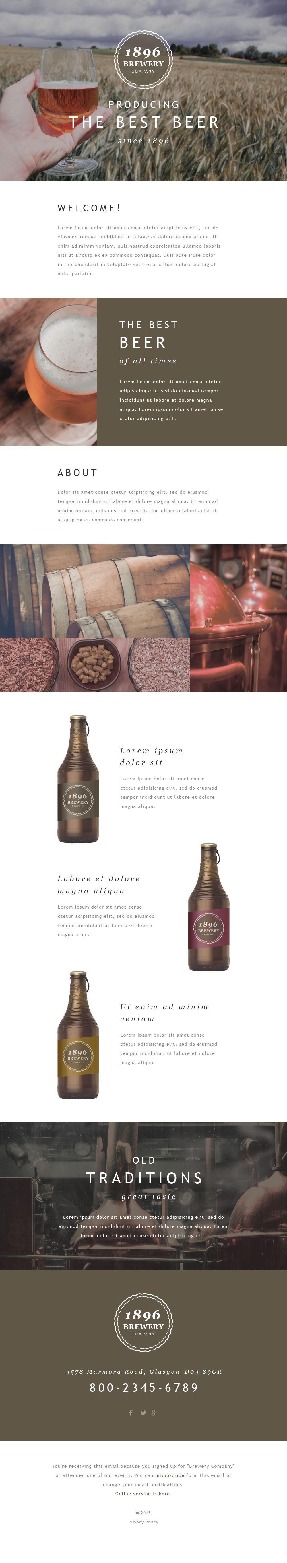 Responsive Newsletter Vorlage für Brauerei #55413
