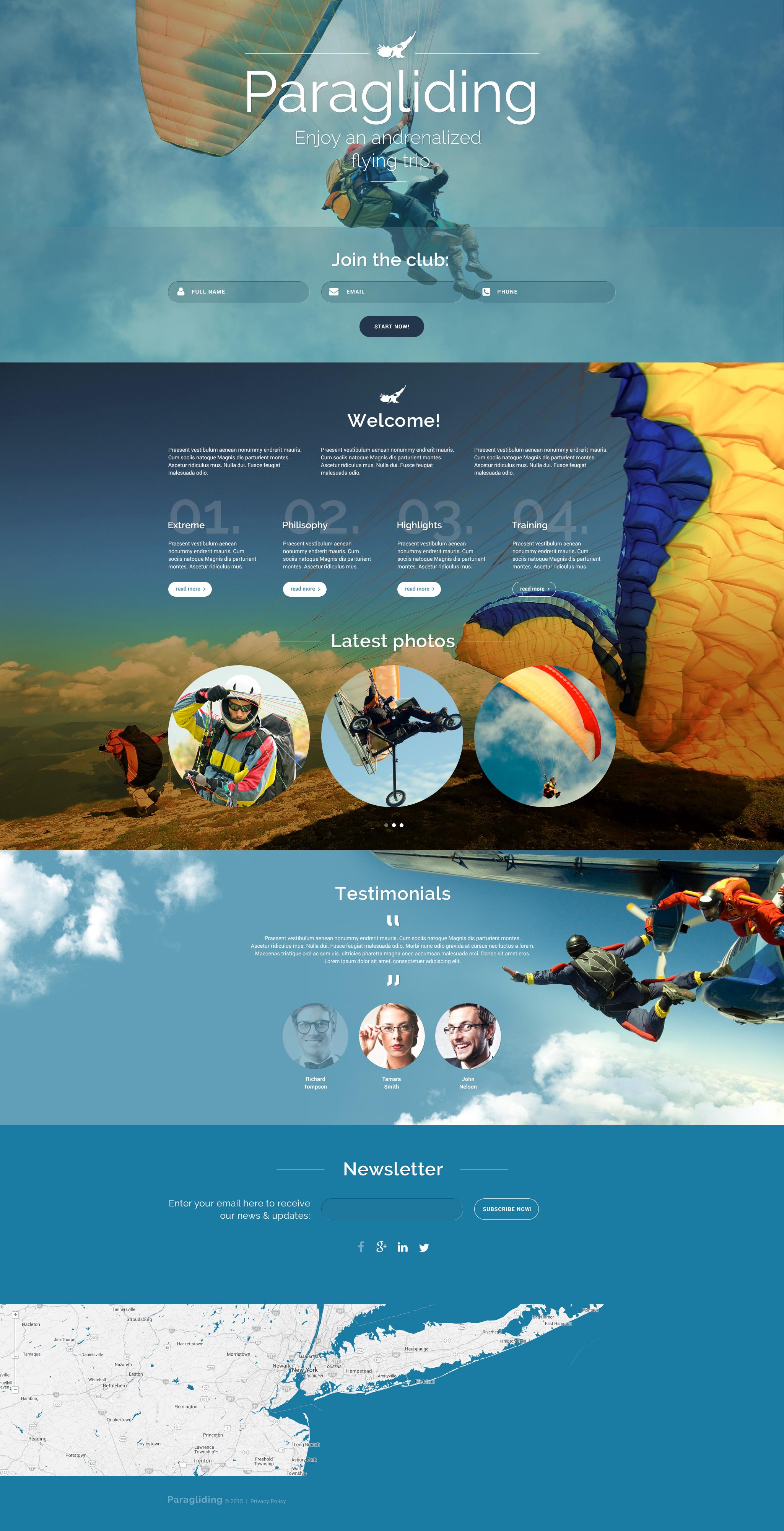 Responsives Landing Page Template für Gleitschirmfliegen #55433 - Screenshot