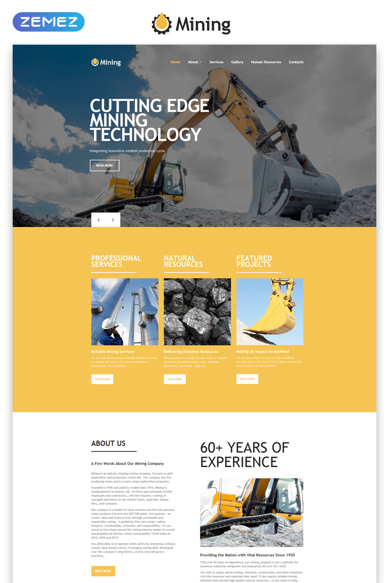 Responsivt Mining - Industrial Responsive Creative HTML Hemsidemall #55434
