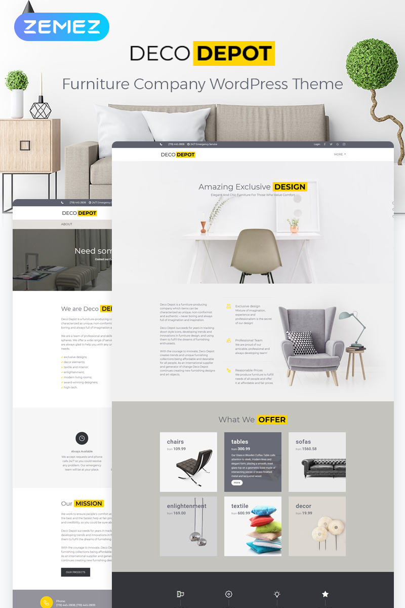 Responsywny motyw WordPress Furniture Company #55460