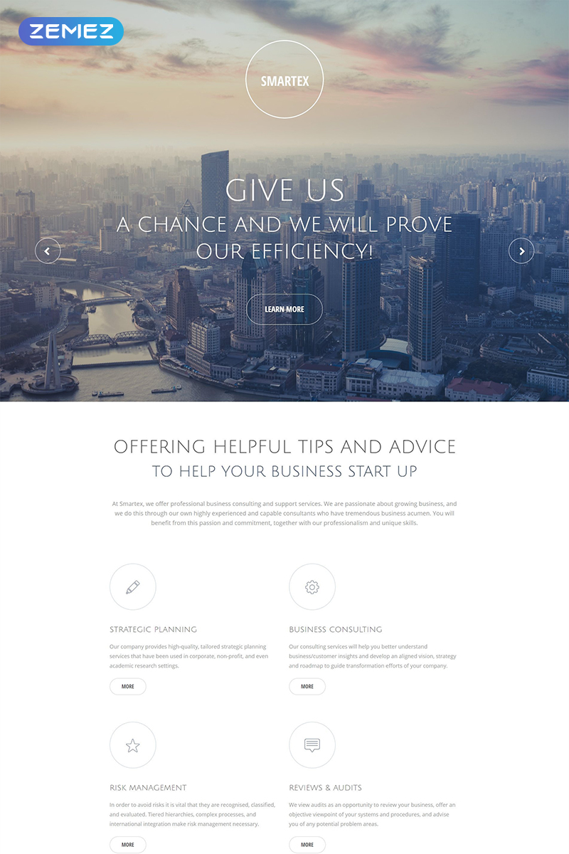 Responsywny szablon Landing Page Smartex - Business Consulting Clean HTML5 #55464