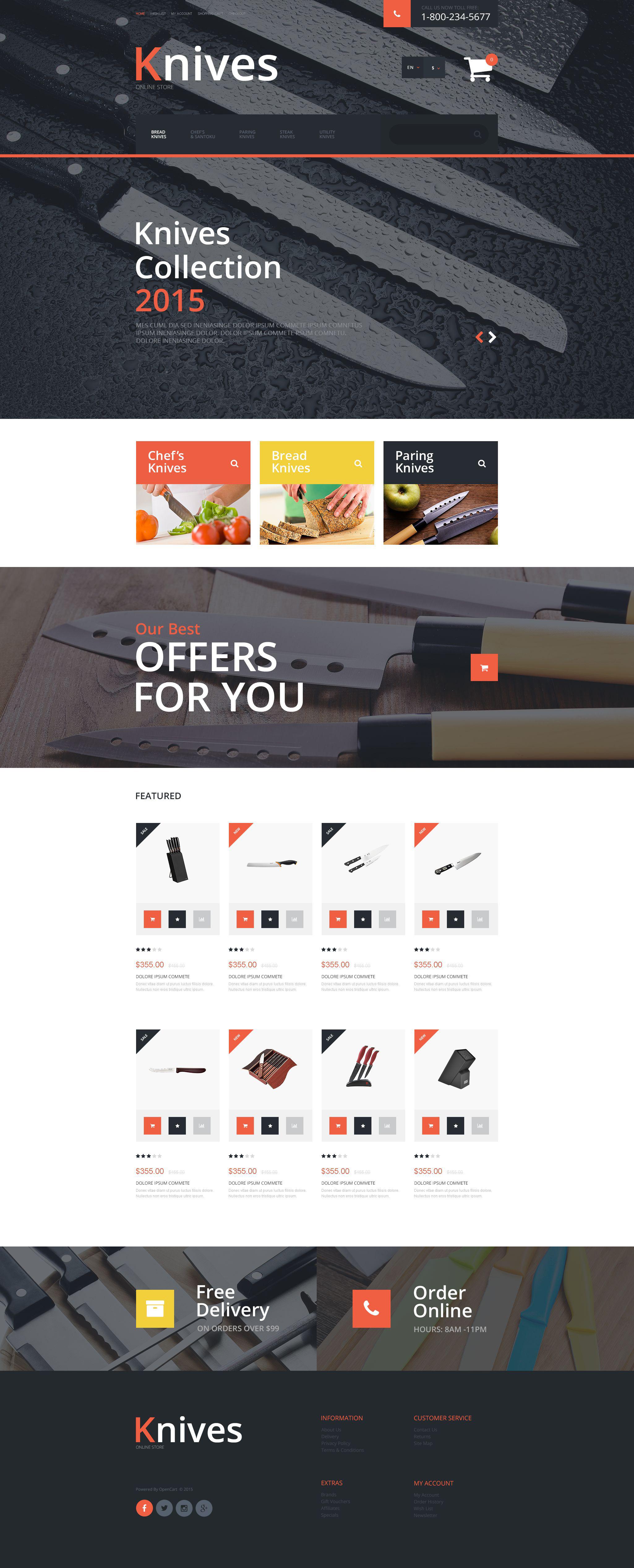 """Responzivní OpenCart šablona """"Knives"""" #55483"""