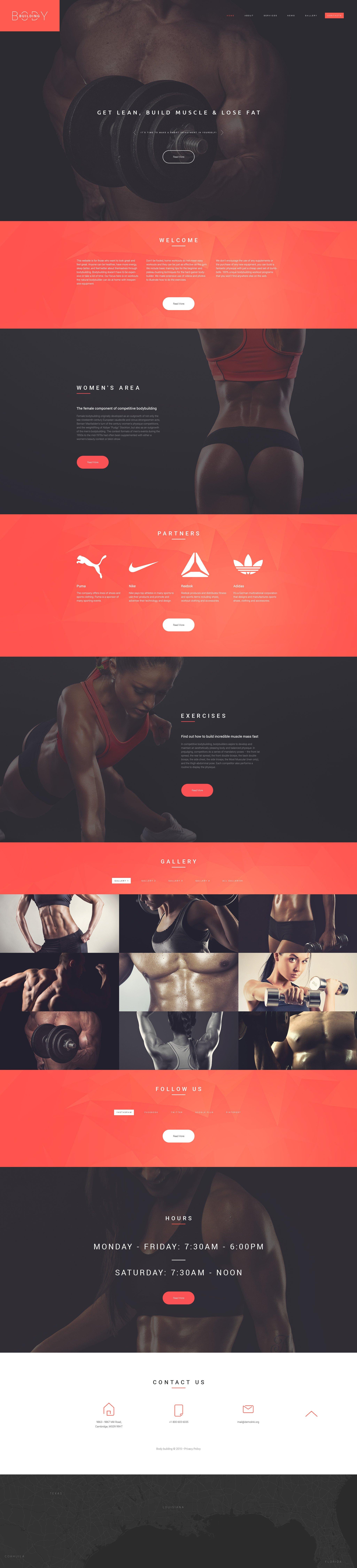 """Responzivní Šablona webových stránek """"Bodybuilders' Club"""" #55451"""