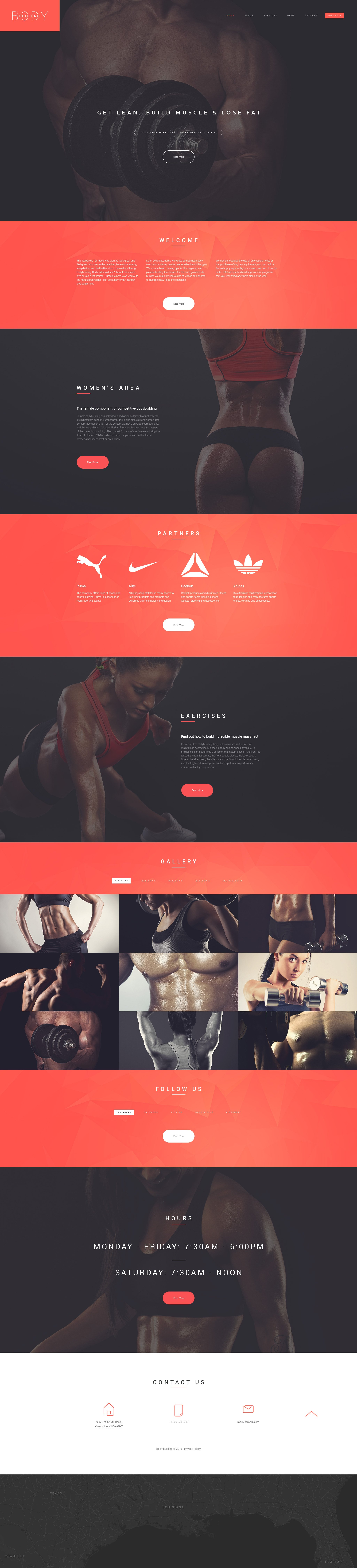 Reszponzív Bodybuilders' Club Weboldal sablon 55451