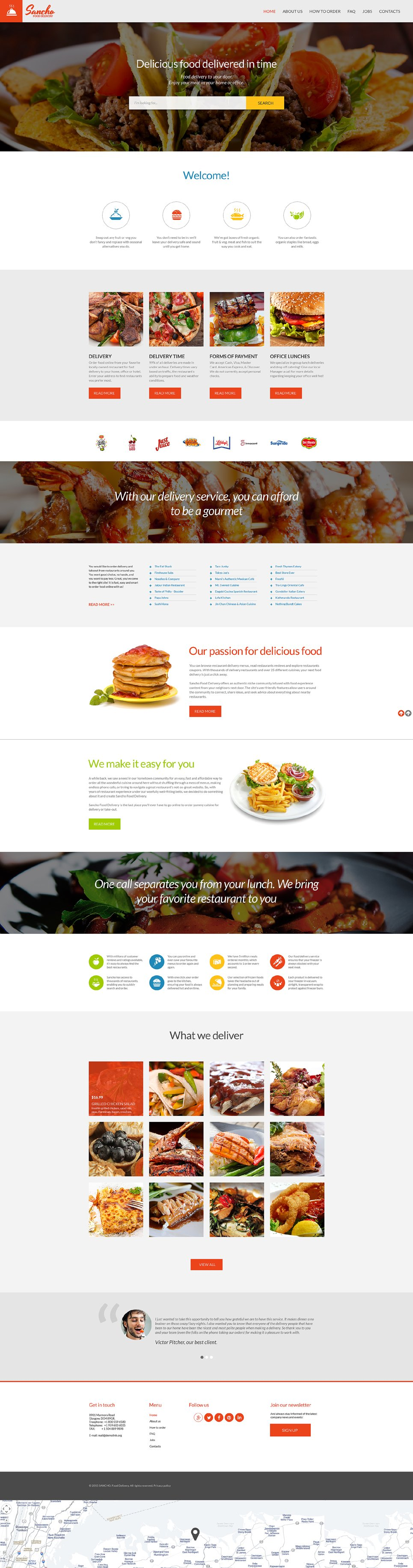 food delivery services web template. Black Bedroom Furniture Sets. Home Design Ideas